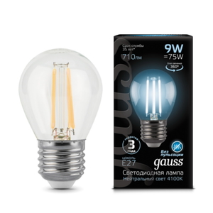 Лампа Gauss LED Filament Globe E27 9W 4100K 105802209