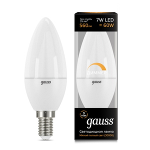 Лампа Gauss LED Candle-dim E14 7W 3000К диммируемая 103101107-D