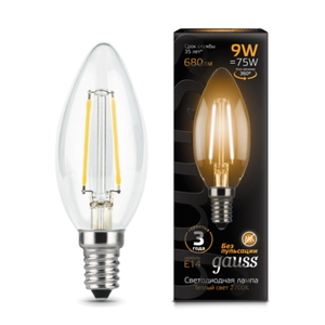 Лампа Gauss LED Filament Candle E14 9W 2700К 1/10/50 103801109