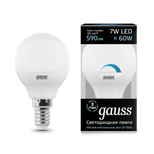 Лампа Gauss LED Globe-dim E14 7W 4100К диммируемая 105101207-D