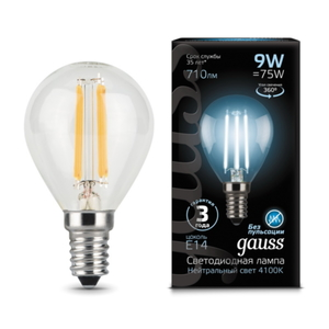 Лампа Gauss LED Filament Globe E14 9W 4100K 105801209