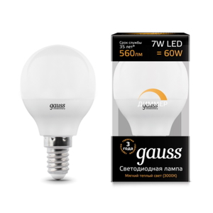 Лампа Gauss LED Globe-dim E14 7W 3000К диммируемая 105101107-D