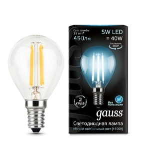 Лампа Gauss LED Filament Globe E14 5W 4100K 105801205