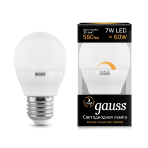 Лампа Gauss LED Globe-dim E27 7W 3000К диммируемая 105102107-D