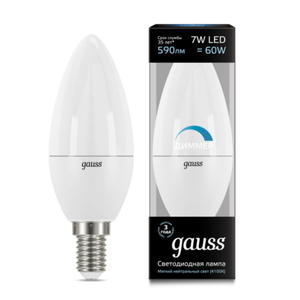 Лампа Gauss LED Candle-dim E14 7W 4100К диммируемая 103101207-D