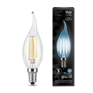 Лампа Gauss LED Filament Candle tailed E14 9W 4100K 1/10/50 104801209