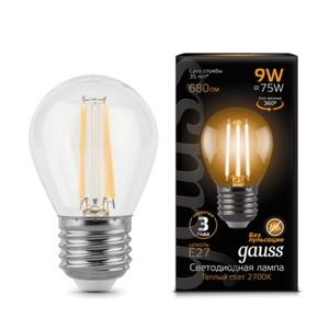 Лампа Gauss LED Filament Globe E27 9W 2700K 105802109