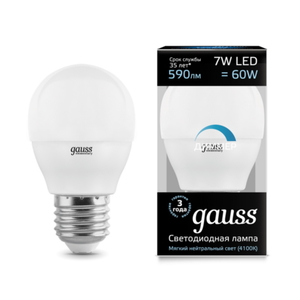 Лампа Gauss LED Globe-dim E27 7W 4100К диммируемая 105102207-D
